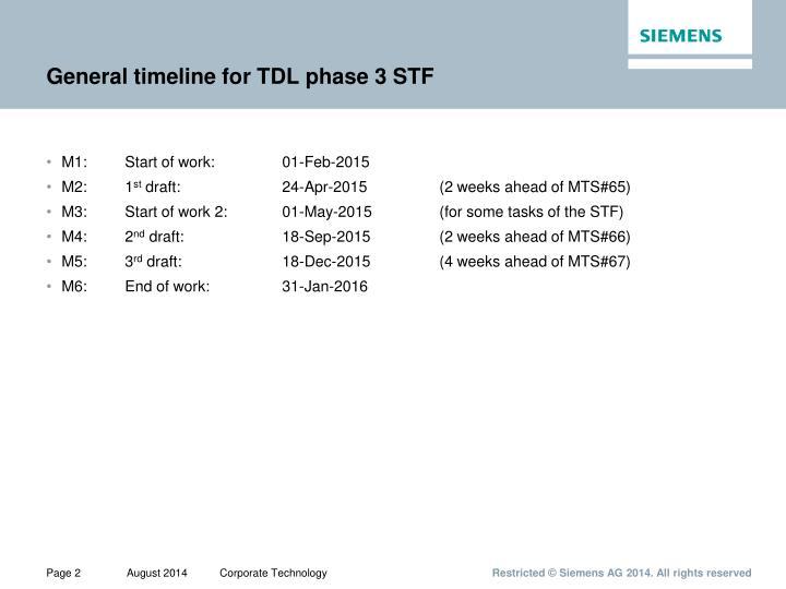 General timeline for TDL phase 3 STF