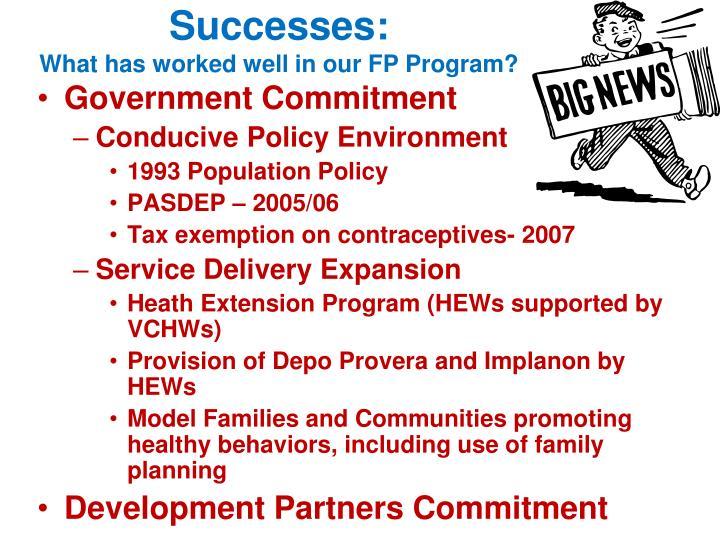 Successes: