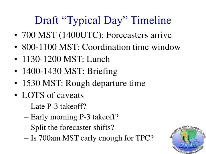 Draft typical day timeline