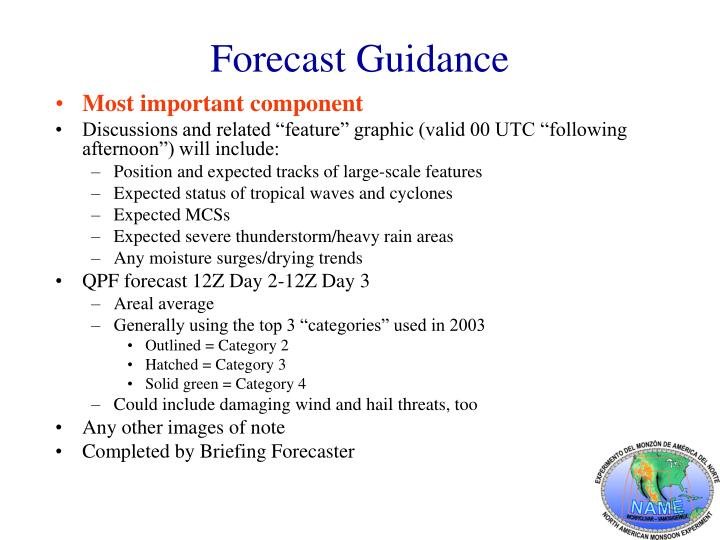 Forecast Guidance
