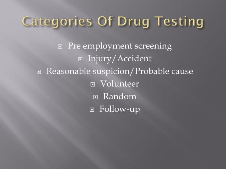 Categories Of Drug Testing