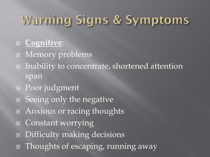 Warning Signs & Symptoms