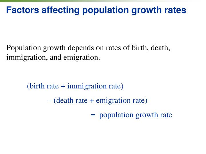 Factors affecting population growth rates