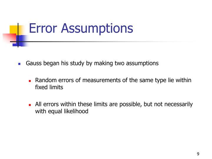 Error Assumptions