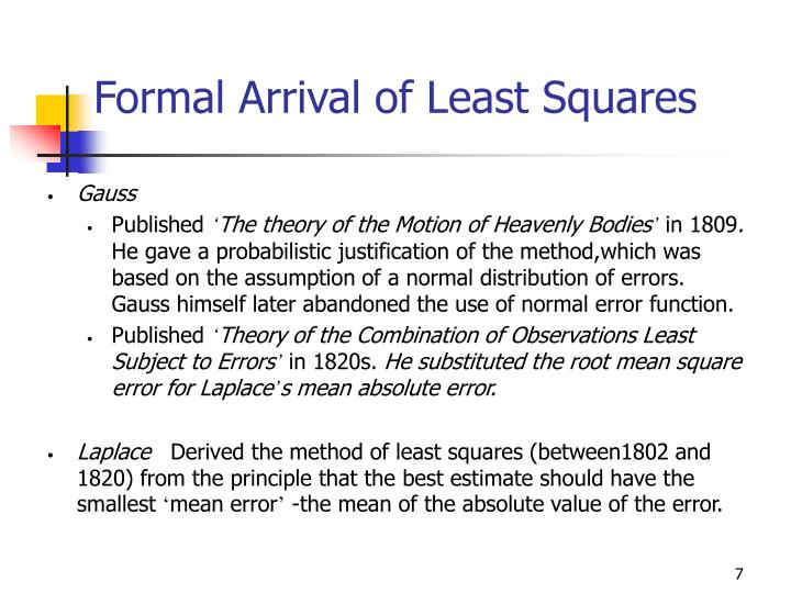 Formal Arrival of Least Squares