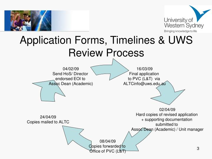 Application forms timelines uws review process