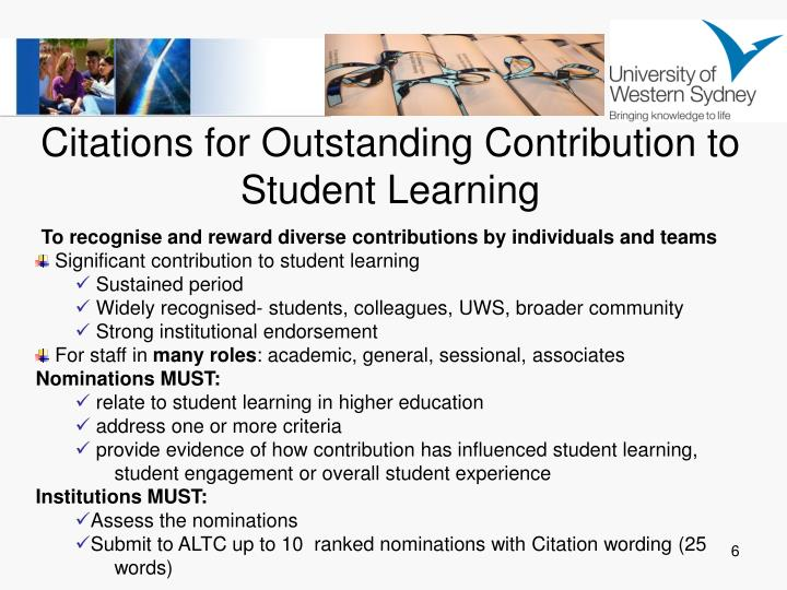 Citations for Outstanding Contribution to Student Learning