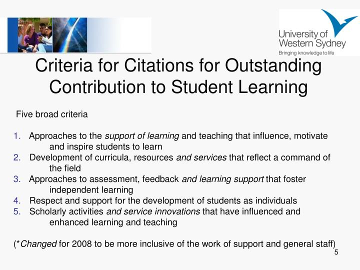 Criteria for Citations for Outstanding Contribution to Student Learning