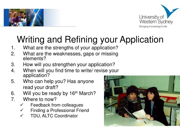 Writing and Refining your Application