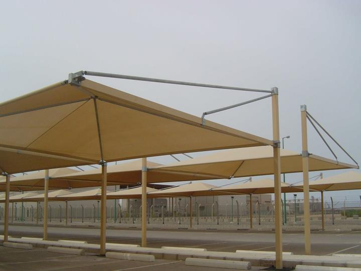 Construction of sun shade for car parking at marafiq for 545 cars