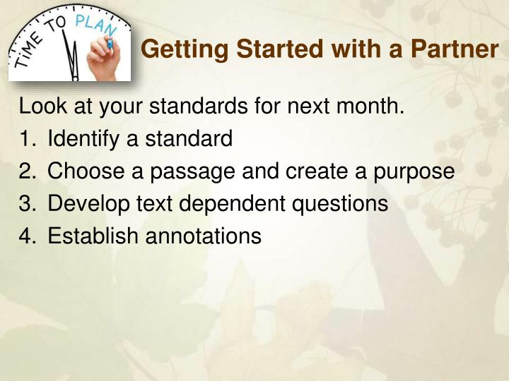 Getting Started with a Partner