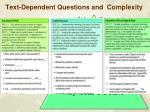 text dependent questions and complexity
