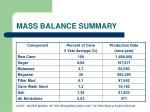 mass balance summary