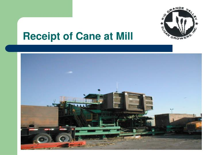 Receipt of Cane at Mill