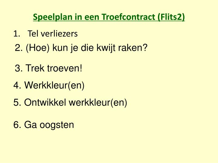 Speelplan in een Troefcontract (Flits2)
