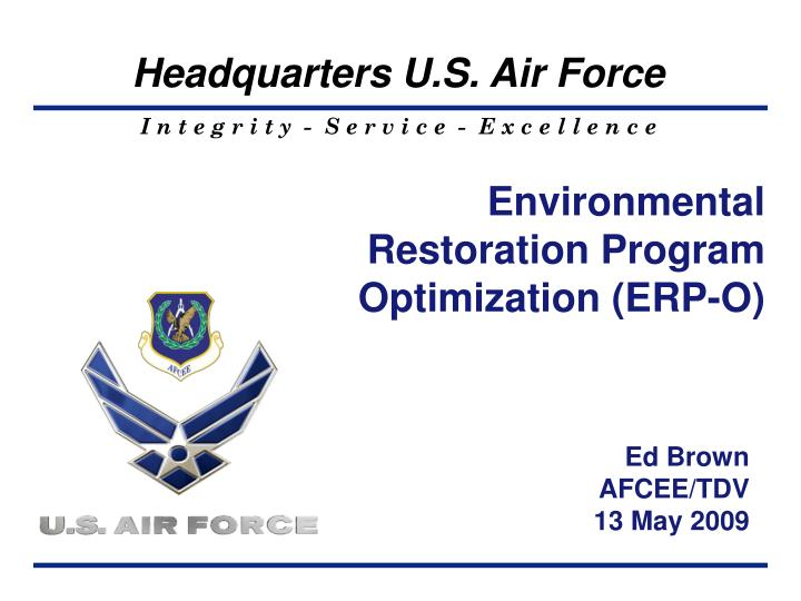 environmental restoration program optimization erp o