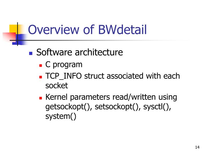 Overview of BWdetail