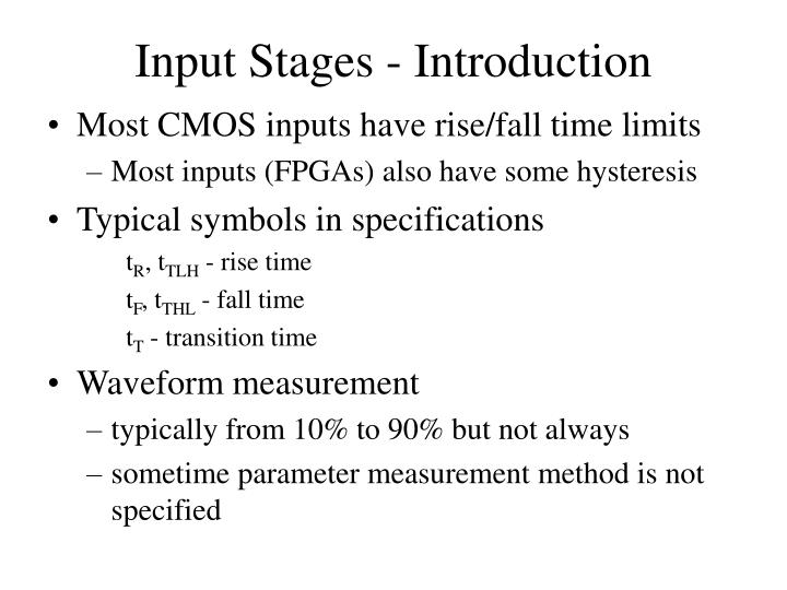 Input stages introduction