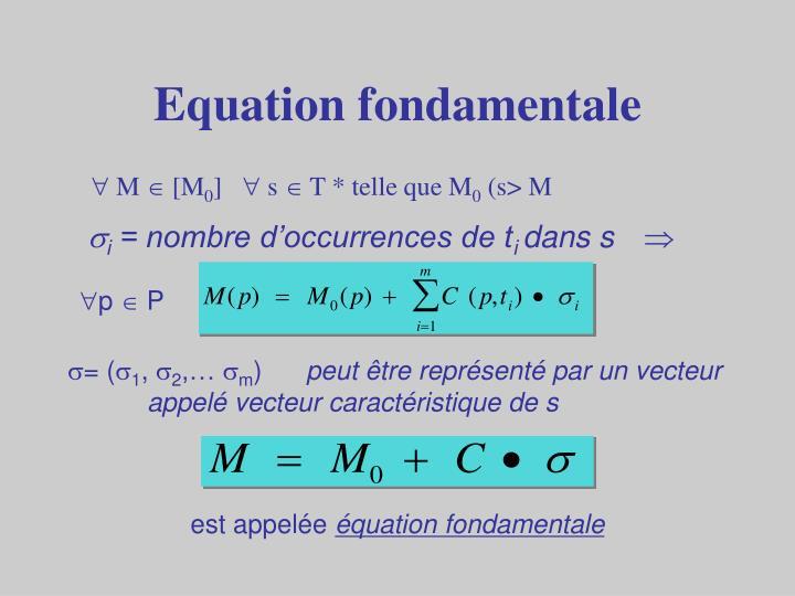 Equation fondamentale