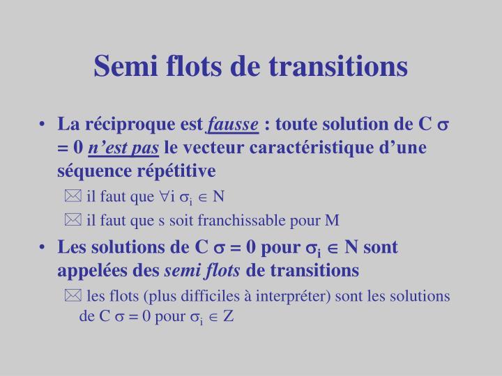 Semi flots de transitions