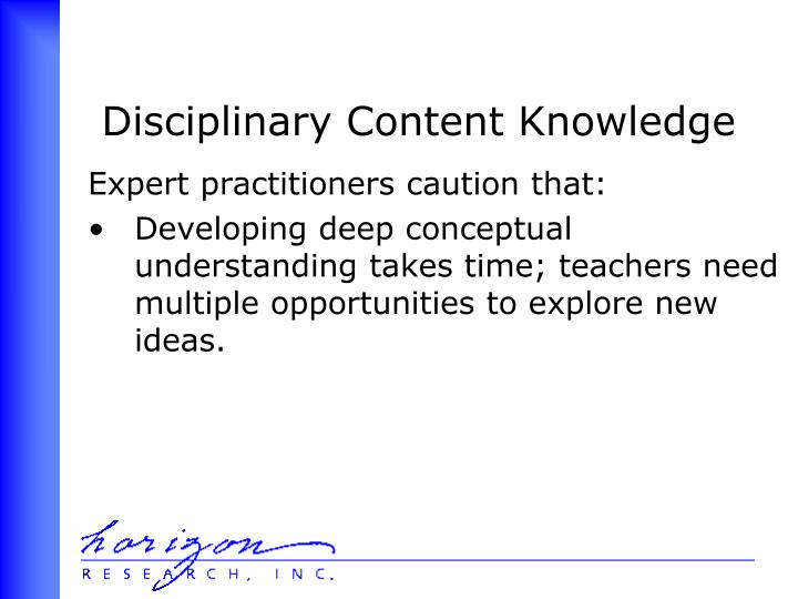 Disciplinary Content Knowledge