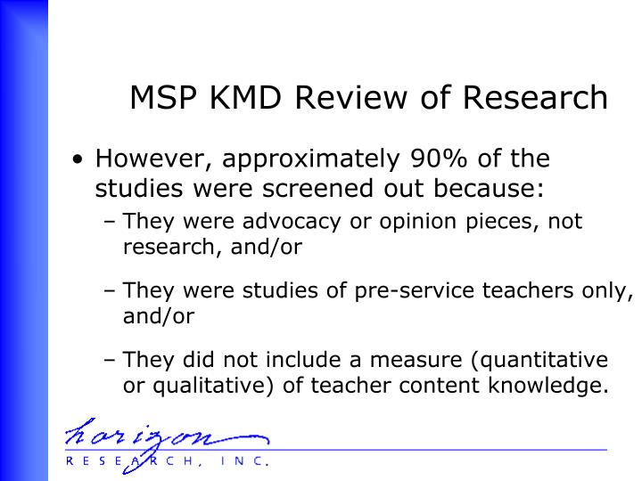 MSP KMD Review of Research