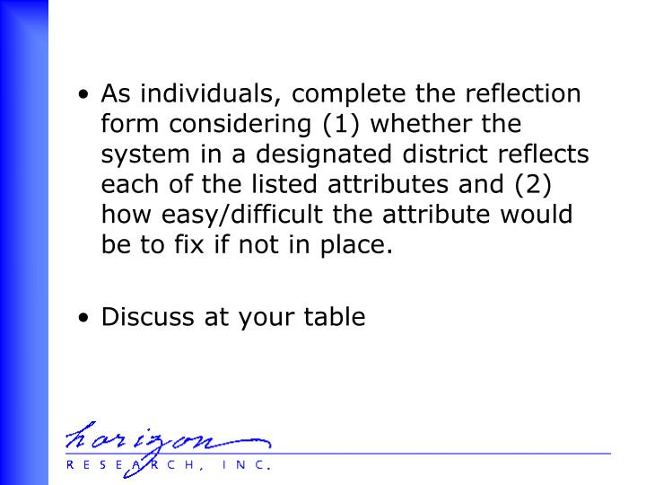 As individuals, complete the reflection form considering