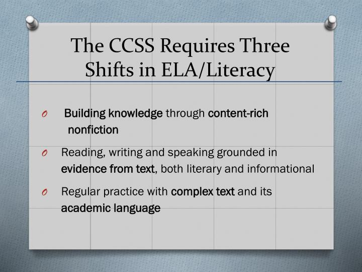 The CCSS Requires Three Shifts in ELA/Literacy