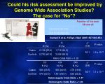 could his risk assessment be improved by genome wide association studies the case for no