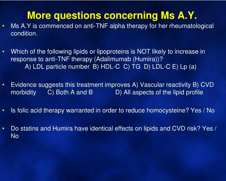 More questions concerning Ms A.Y.