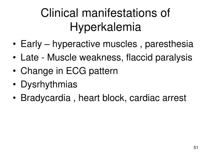 Clinical manifestations of Hyperkalemia