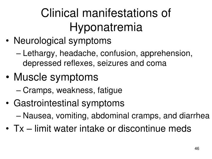 Clinical manifestations of Hyponatremia