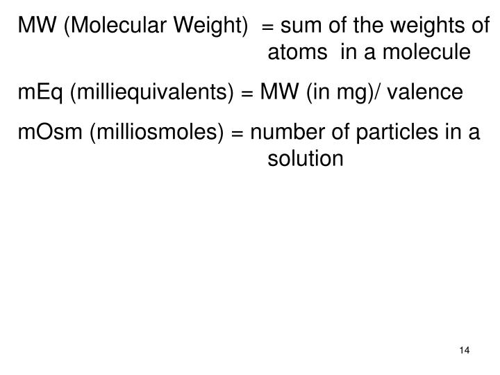 MW (Molecular Weight)  = sum of the weights of atoms  in a molecule
