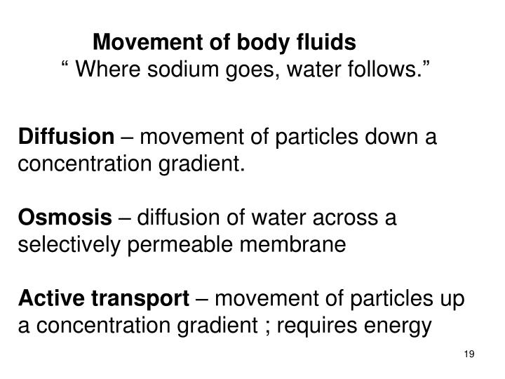 Movement of body fluids