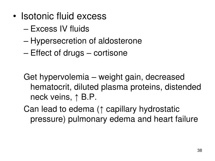 Isotonic fluid excess