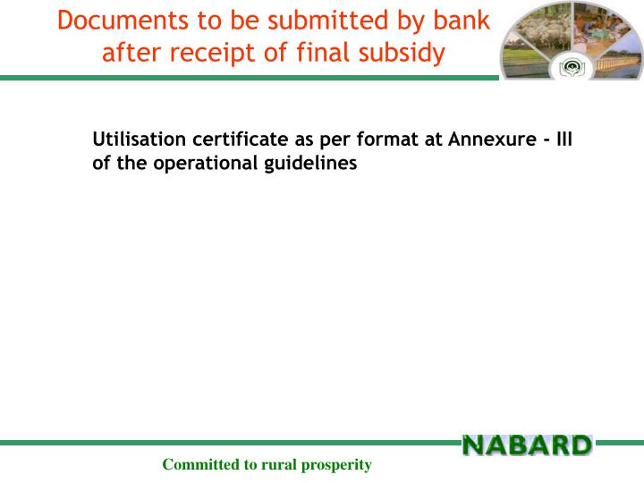 Documents to be submitted by bank