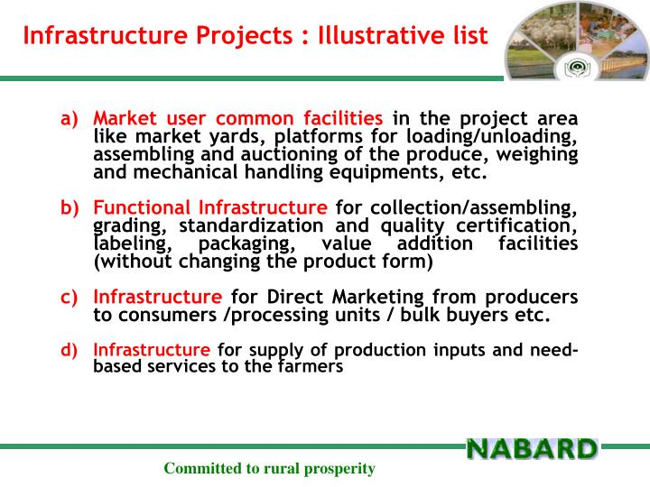 Infrastructure Projects : Illustrative list