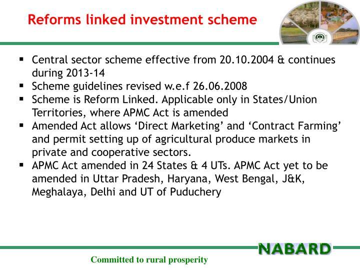 Reforms linked investment scheme