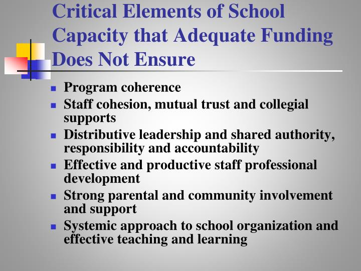 Critical Elements of School Capacity that Adequate Funding Does Not Ensure