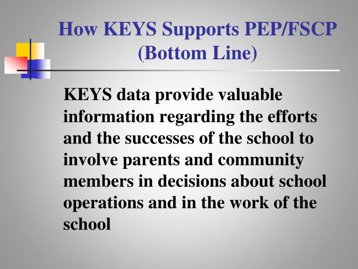How KEYS Supports PEP/FSCP