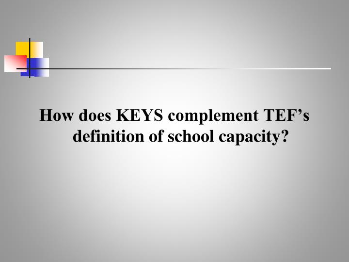 How does KEYS complement TEF's definition of school capacity?
