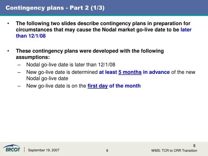 Contingency plans - Part 2 (1/3)