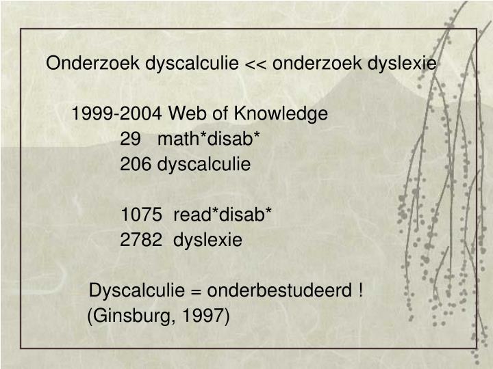 Onderzoek dyscalculie << onderzoek dyslexie