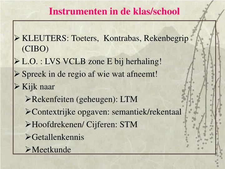 Instrumenten in de klas/school