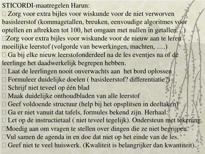 STICORDI-maatregelen Harun: