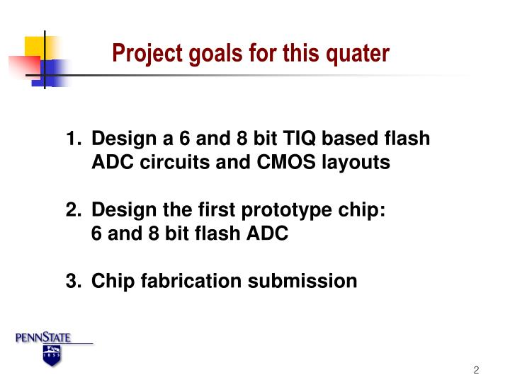 Project goals for this quater