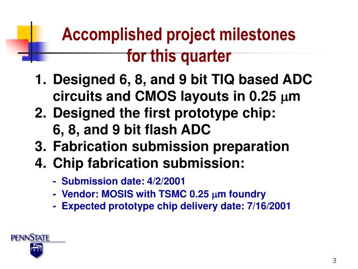 Accomplished project milestones for this quarter