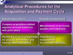 analytical procedures for the acquisition and payment cycle
