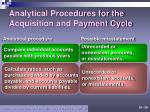 analytical procedures for the acquisition and payment cycle1