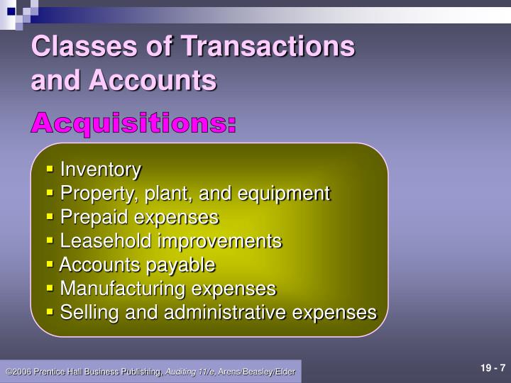 Classes of Transactions